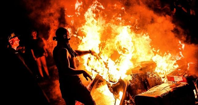 Antifa burn waste in Schanzenviertel, Hamburg, Germany, July 6.