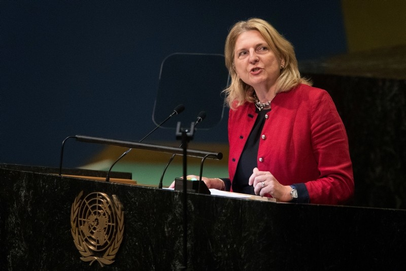 Austrian Foreign Minister Karin Kneissl addresses the 73rd session of the United Nations General Assembly,Saturday, Sept. 29, 2018 at U.N. headquarters. (AP Photo)
