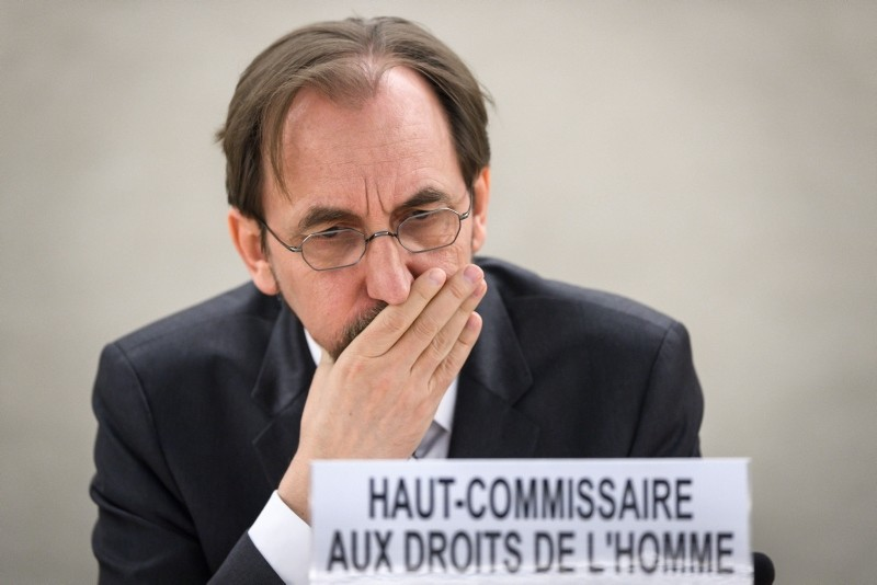 High Commissioner for Human Rights Zeid Ra'ad Al Hussein attends a special session of the United Nations Human Rights Council on May 18, 2018 in Geneva. (AFP Photo)
