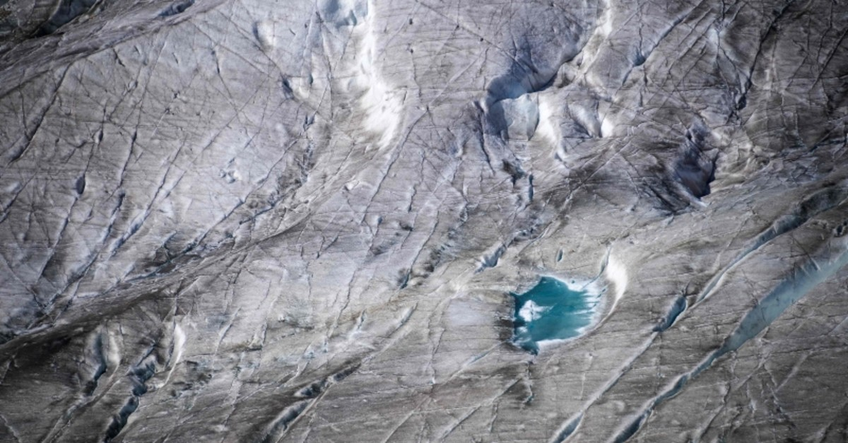 In this file photo taken on October 01, 2019 This picture taken on October 01, 2019 shows the surface of Aletsch glacier above Bettmeralp, Swiss Alps. (AFP Photo)