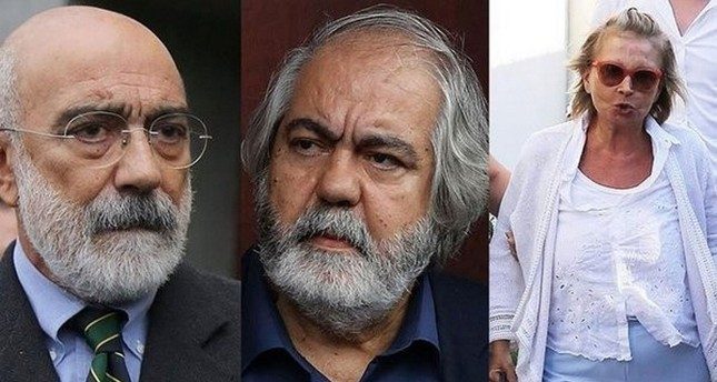 Three prominent figures who are accused of serving as the media arm of FETÖ, Ahmet Altan (L), Mehmet Altan (M) and Nazlı Ilıcak (R). (Sabah Photo)