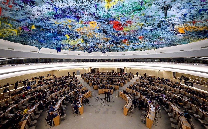 General view of the United Nations (UN) Human Rights Council during the presentation of report by the Commission of Inquiry on Syria, on March 13, 2018 in Geneva. (AFP Photo)