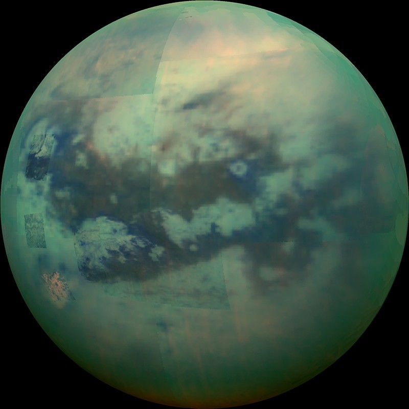 This Nov. 13, 2015 composite image made available by NASA shows an infrared view of Saturn's moon, Titan, as seen by the Cassini spacecraft.