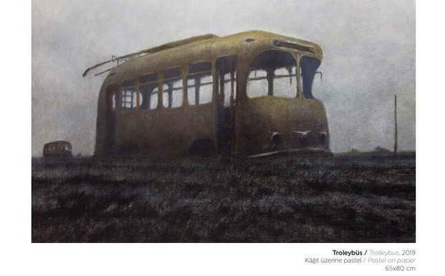 Trolleybus, 2019, pastel on paper, 65x80 cm.