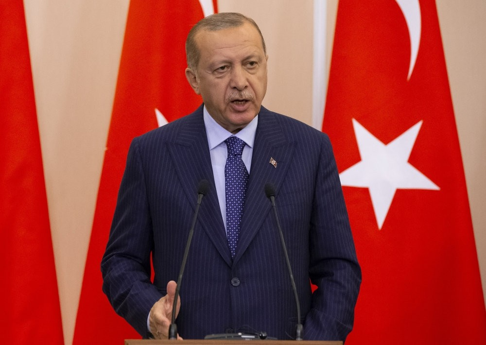 President Recep Tayyip Erdou011fan addresses a news conference following the Idlib talks with his Russian counterpart Vladimir Putin in Sochi, Sept. 17.
