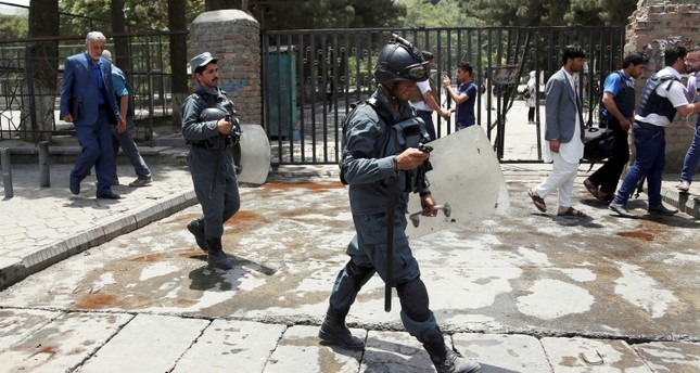 Security personnel arrived at the site of a would-be suicide attack near a park in Kabul, Afghanistan, Monday, July 16, 2018. (AP Photo)