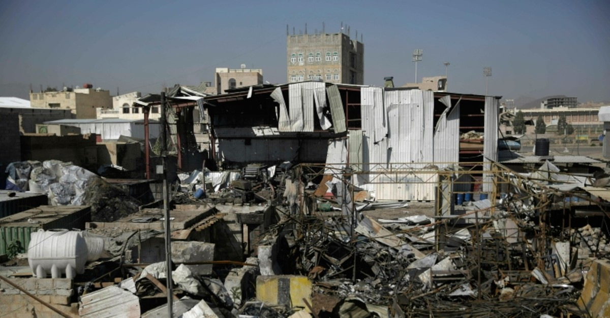 This April 10, 2019, file photo shows a view of the site of an airstrike by Saudi-led coalition in Sanaa, Yemen. (AP Photo)