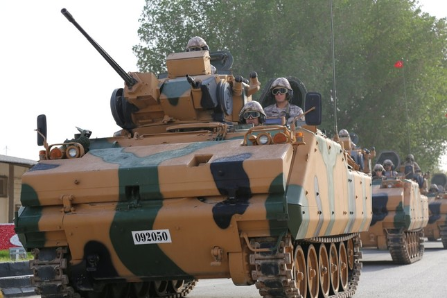 A Turkish APC at Turkey's military base in Doha, Qatar, June 18, as part of the program to train local forces.