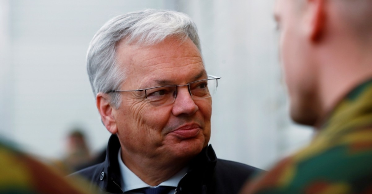 Belgian minister Didier Reynders visits Belgian soldiers deployed to the NATO enhanced Forward Presence battle group at Tapa military base, Estonia April 2, 2019. (Reuters Photo)