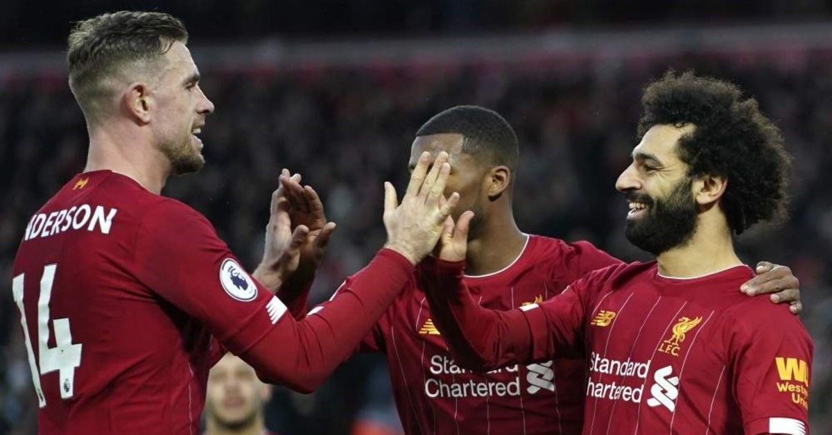 Liverpool players celebrate a goal during an English Premier League match against Southampton at Anfield Stadium, Feb. 1, 2020. (AP Photo)