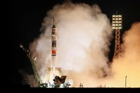 Astronauts who survived rocket failure blast off to International Space Station