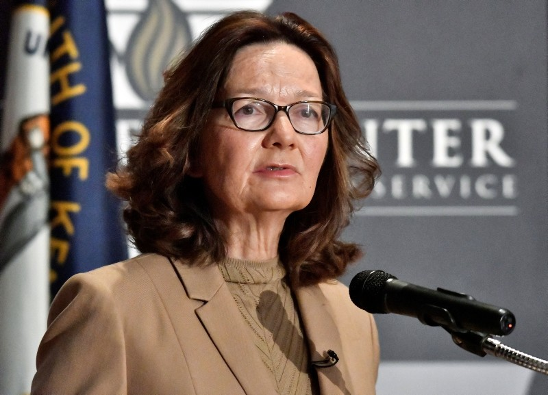 CIA Director Gina Haspel addresses the audience as part of the McConnell Center Distinguished Speaker Series at the University of Louisville, Monday, Sept. 24, 2018, in Louisville, Ky. (AP Photo)