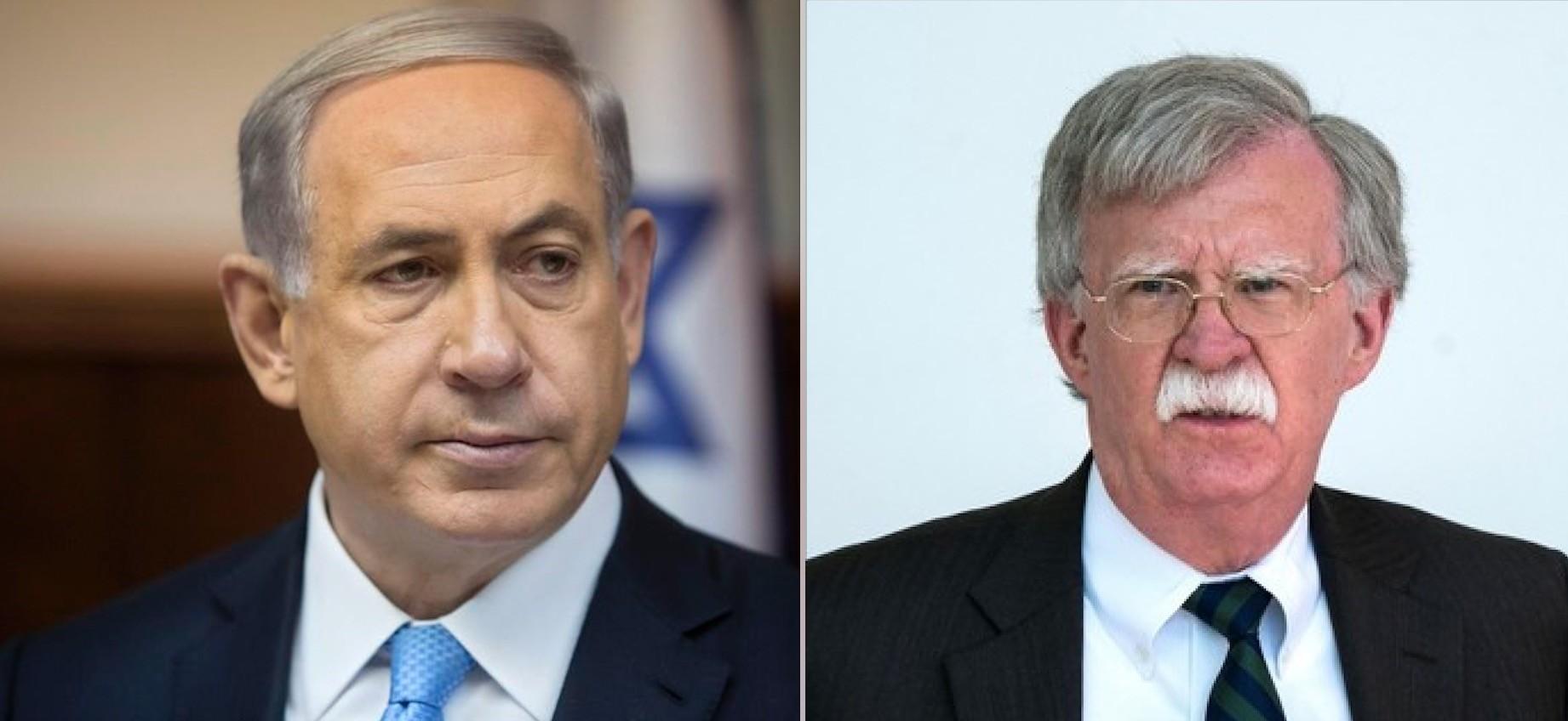 Netanyahu (L) and Bolton