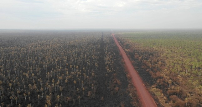 Aerial view of the damage caused by wildfires in Otuquis National Park, in the Pantanal ecoregion of southeastern Bolivia, on August 27, 2019. AFP Photo