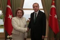 أردوغان يستقبل رئيسة مجلس الاتحاد الروسي في إسطنبول