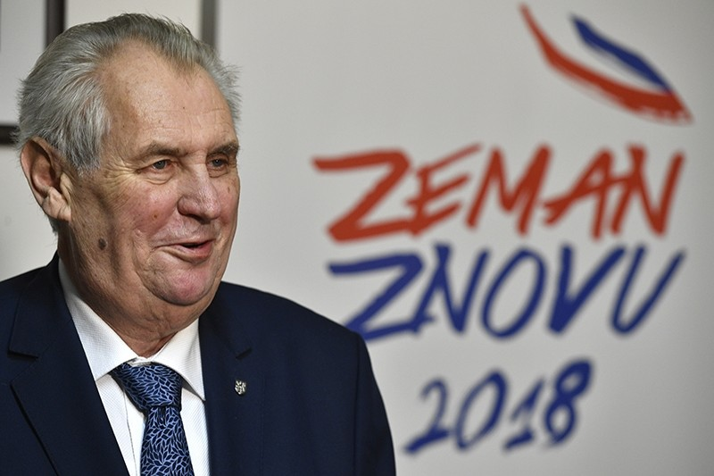 Czech President and presidential candidate Milos Zeman speaks during a press conference after the first round of presidential voting in Prague on Saturday, Jan. 13, 2018 (AP Photo)
