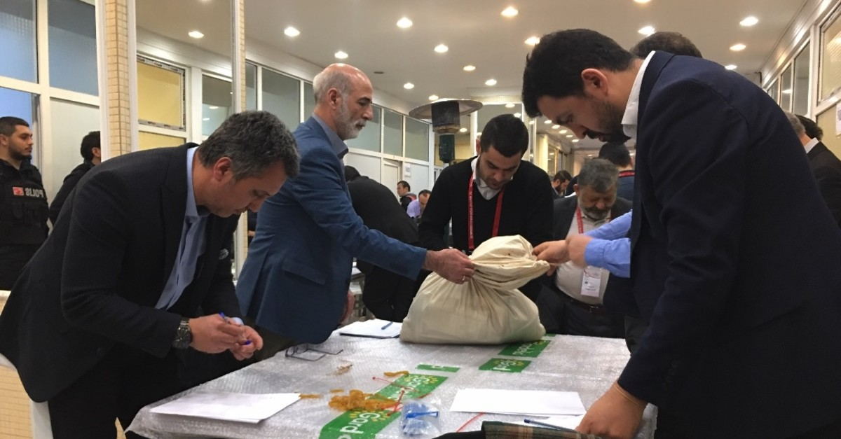Representatives from the YSK and political parties recount invalid votes of the March 31 elections in u015eiu015fli district, Istanbul, April 5, 2019.