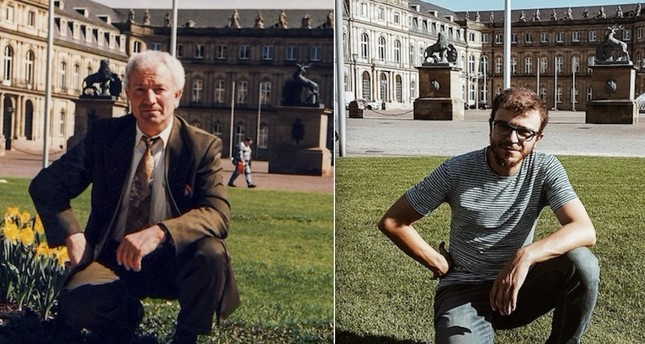 Zaferullah Yıldırım (below) recreates his grandfather Dursun Ali Yıldırım's photos that were taken 30 years ago in Germany.