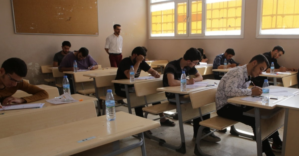 Students taking university entrance exams in Al-Bab, Syria, an area liberated by Turkey's counterterrorism operations, June 24, 2019.