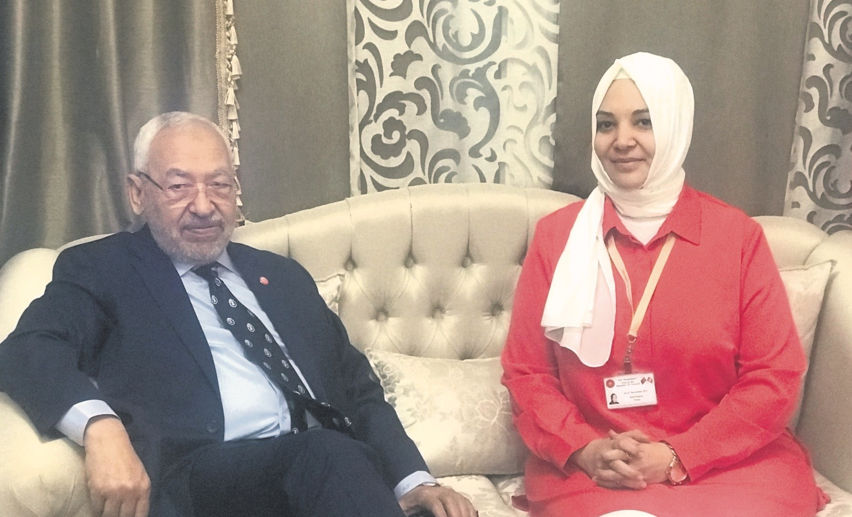 Ghannouchi (L) and Daily Sabah's Hilal Kaplan