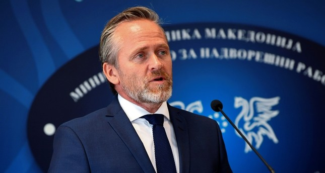 Danish Foreign Minister Anders Samuelsen talks to the media during a joint news conference with his Macedonian counterpart Nikola Dimitrov at the foreign ministry in Skopje, Macedonia, Nov. 21, 2018. (AP Photo)