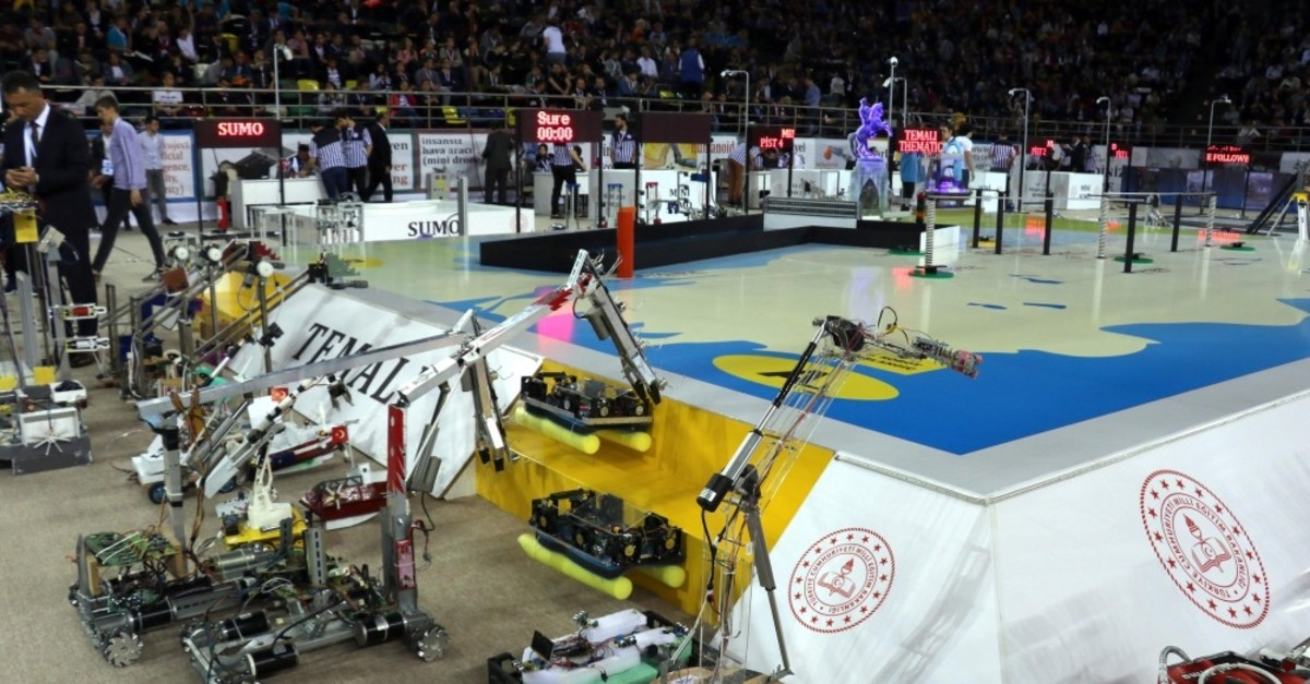 Robots and their designers will compete at a sports hall in Samsun.