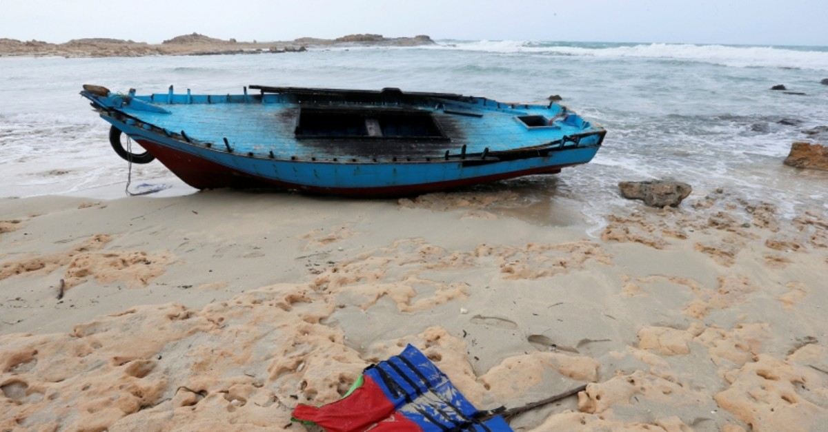 A boat used by migrants is seen near the western town of Sabratha, Libya March 19, 2019. (Reuters Photo)