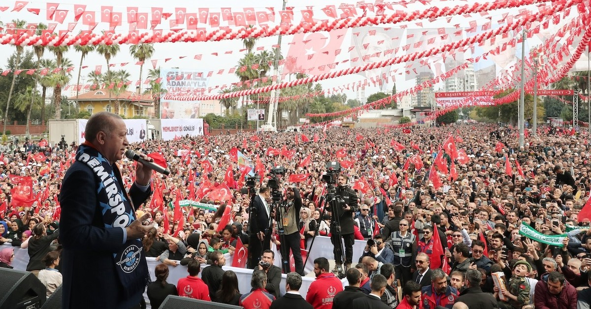 President Recep Tayyip Erdou011fan addresses an election rally in Adana, March 10, 2019.