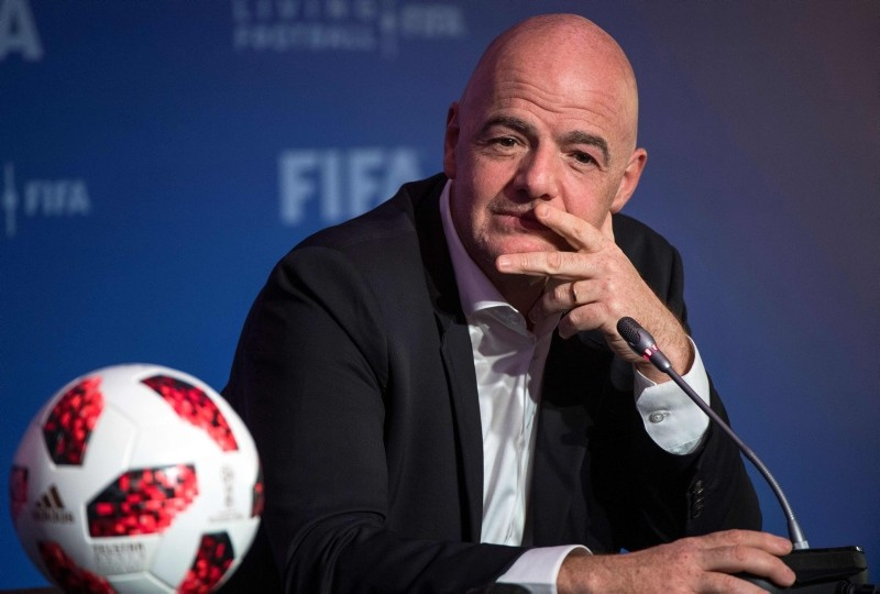In this file photo taken on January 17, 2019 FIFA President Gianni Infantino gives a press conference during the FIFA Executive Football Summit in the central Moroccan city of Marrakech. (AFP Photo)