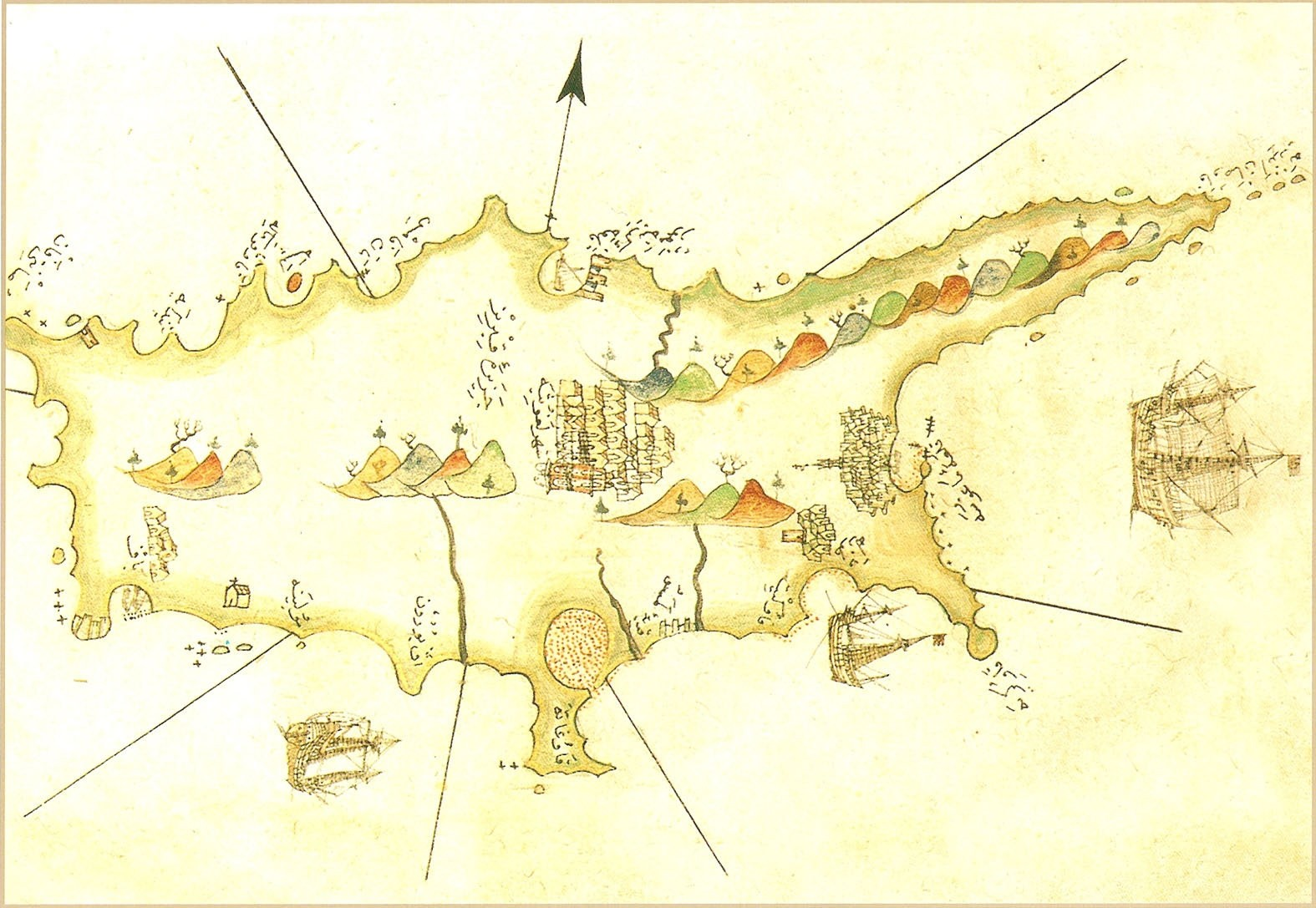 Map of Cyprus drawn by Ottoman Admiral Piri Reis.