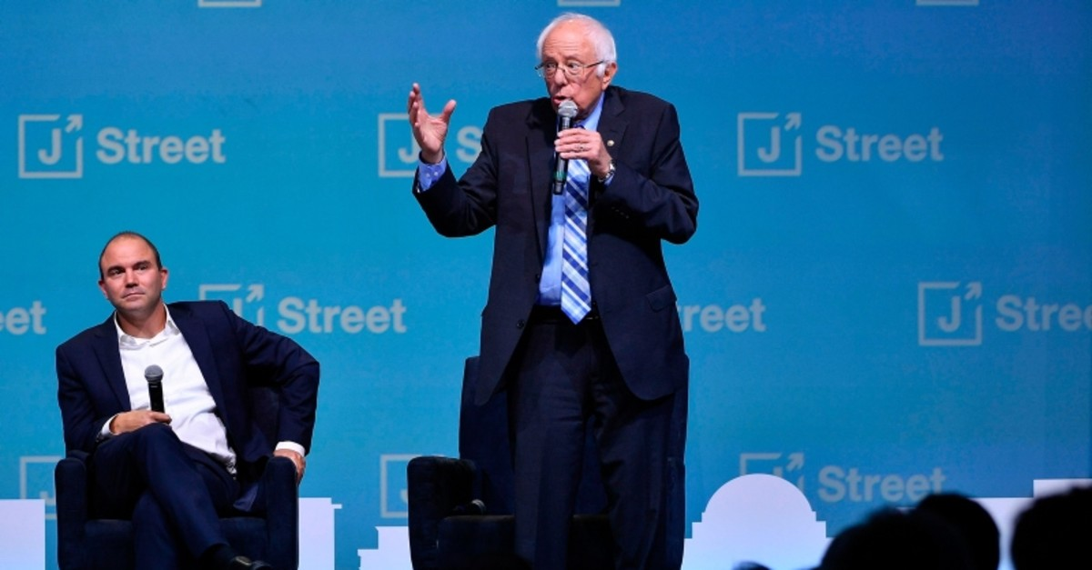Democratic presidential candidate Sen. Bernie Sanders, I-Vt., speaks at the J Street National Conference, Monday, Oct. 28, 2019, in Washington. (AP Photo)