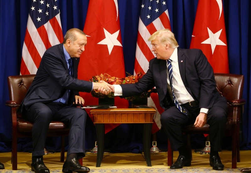 President Recep Tayyip Erdou011fan and his U.S. counterpart Donald Trump shake hands before a meeting on the sidelines of the U.N. General Assembly meeting on Sep. 25, 2017. (Presidential Photo Service via AA)