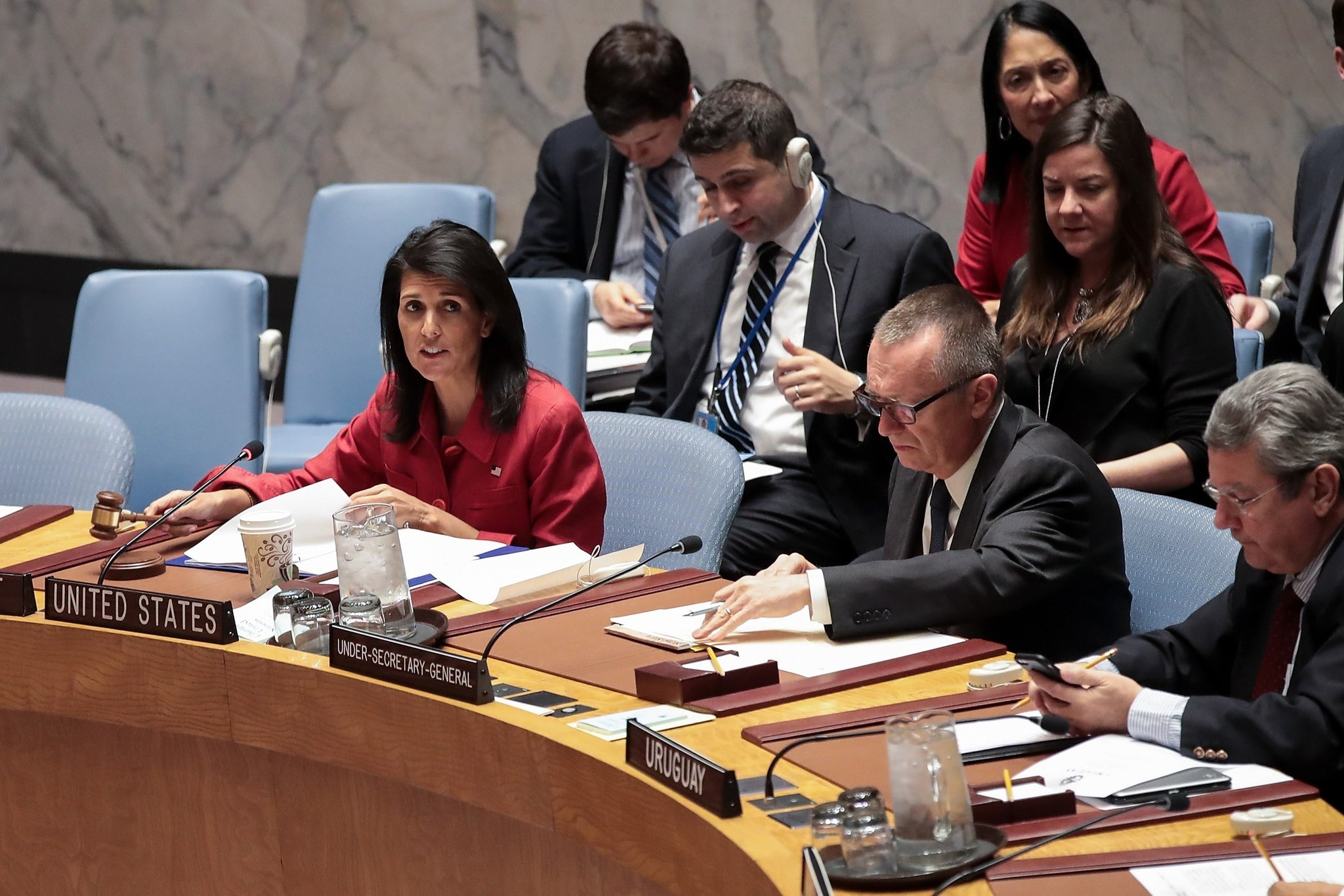 U.S. Ambassador to the United Nations Nikki Haley chairs a meeting of the United Nations Security Council concerning the situation in Syria. (AFP Photo)