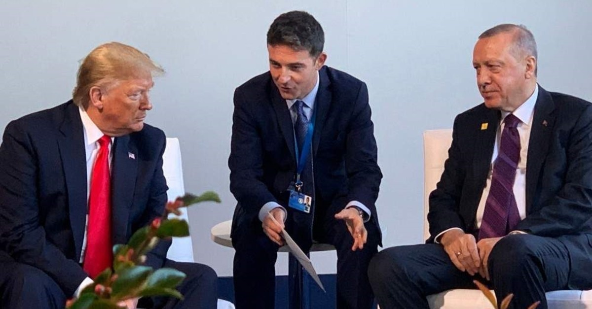 President Recep Tayyip Erdou011fan (R) and U.S. President Donald Trump (L) during a bilateral meeting as part of the NATO summit in London, Dec.4, 2019. (AFP Photo)