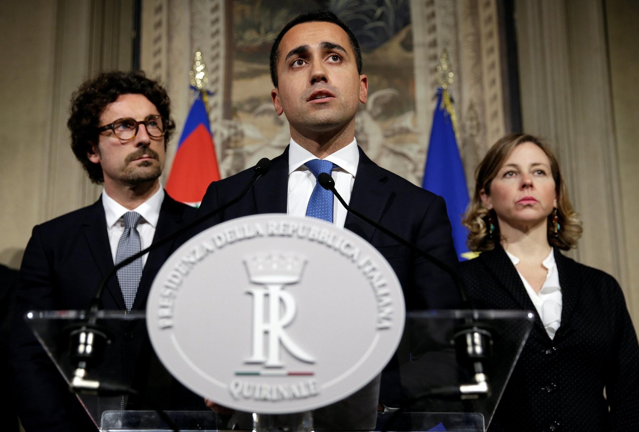 Anti-establishment 5-Star Movement leader Luigi Di Maio speaks following a talk with Italian President Sergio Mattarella at the Quirinal Palace in Rome, Italy, April 12.