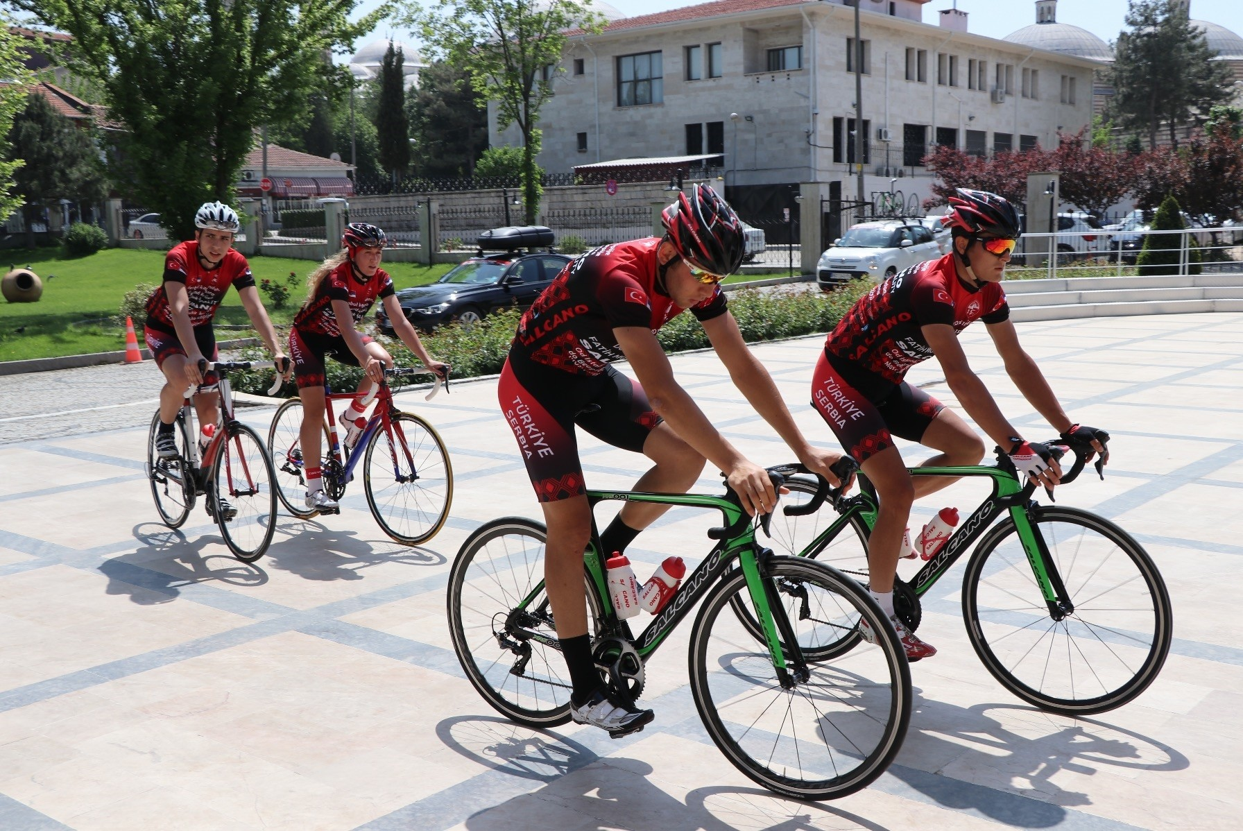 Cyclists arrived in the border city Edirne on Friday.