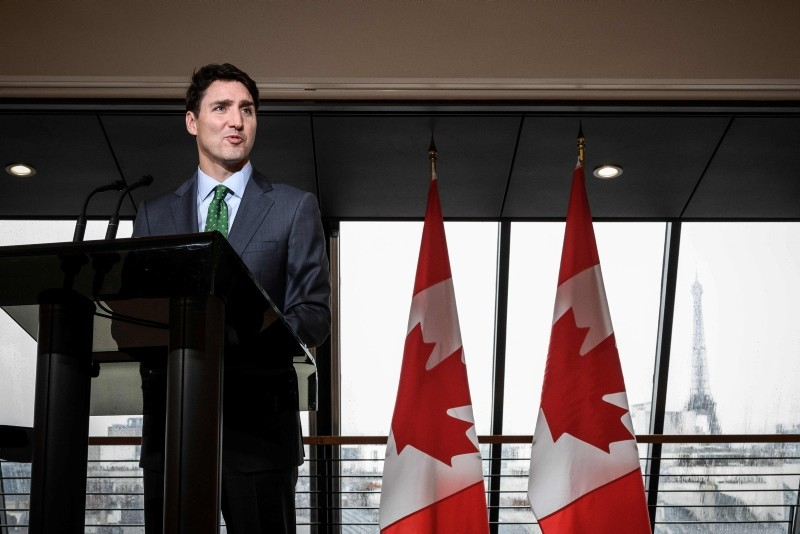 Canadian Prime Minister Justin Trudeau speaks during a press conference at the Canadian Embassy in Paris on November 12, 2018. (AFP Photo)