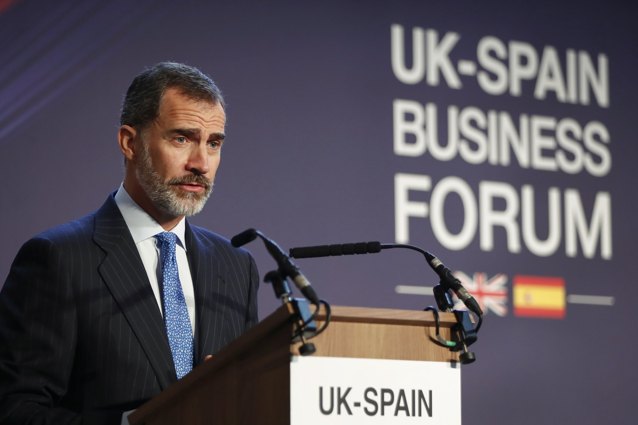 Spanish King Felipe VI addresses the U.K.-Spain Business Forum in London