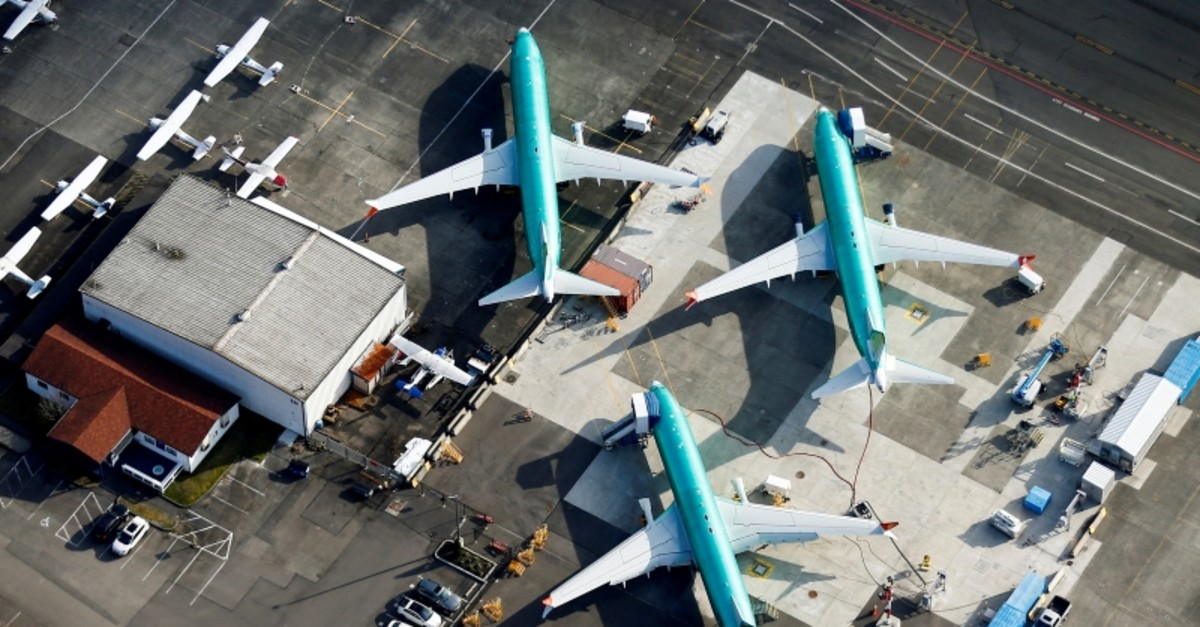 An aerial photo shows Boeing 737 MAX airplanes parked on the tarmac at the Boeing Factory in Renton, Washington, U.S. March 21, 2019. (Reuters Photo)