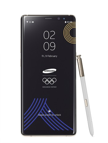 Special Winter Olympics edition of Samsung Galaxy Note 8. (Samsung via AP)
