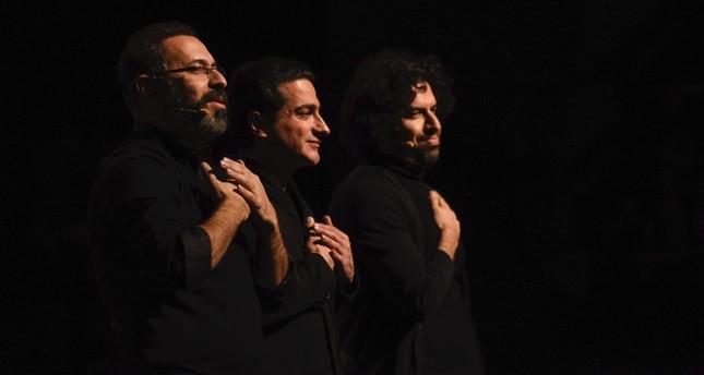 Tahmoures Pournazeri(L), Homayoun Shajarian (C) and Sohrab Pournazeri.