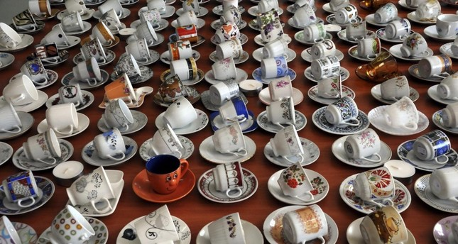 A Turkish art teacher has collected more than 3,000 cups in the last 12 years.
