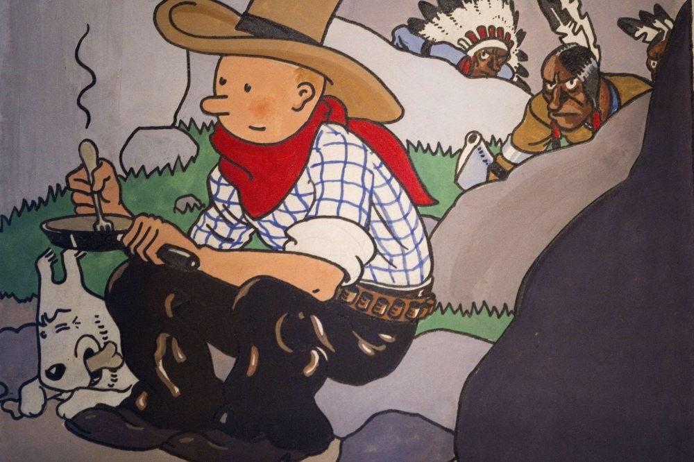 An original 1932 cover of the comic ,Tintin in America, by late Belgian cartoonist Georges Remi, popularly known as as Herge.