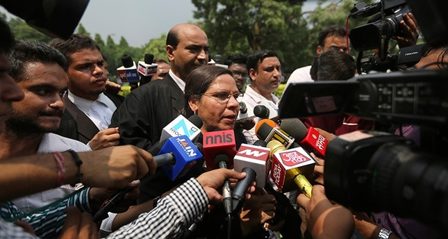 Farha Faiz, a Supreme Court lawyer, speaks to media after the apex court declared Triple Talaq, a Muslim practice that allows men to instantly divorce their wives, unconstitutional in its verdict, in New Delhi, India, Aug. 22, 2017 (AP Photo)