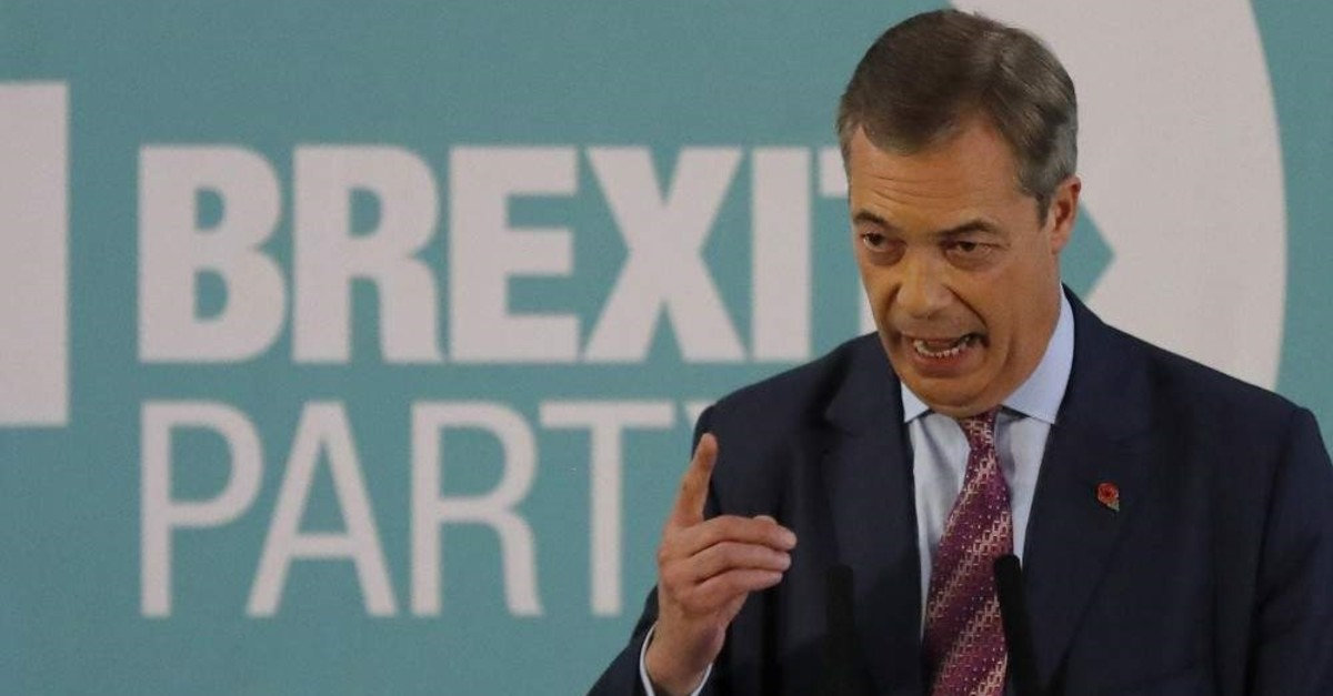 Brexit Party leader Nigel Farage speaks during an event as part of the general election campaign trail, Hartlepool, Nov. 11, 2019. (AP Photo)