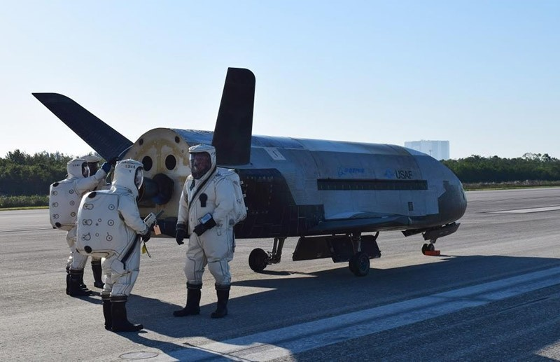This image provided by the U.S. Air Force shows the Air Force's X37B spacecraft at NASA's Kennedy Space Center Shuttle Landing Facility in Cape Canaveral, Fla., Sunday, May 7, 2017. (AP Photo)