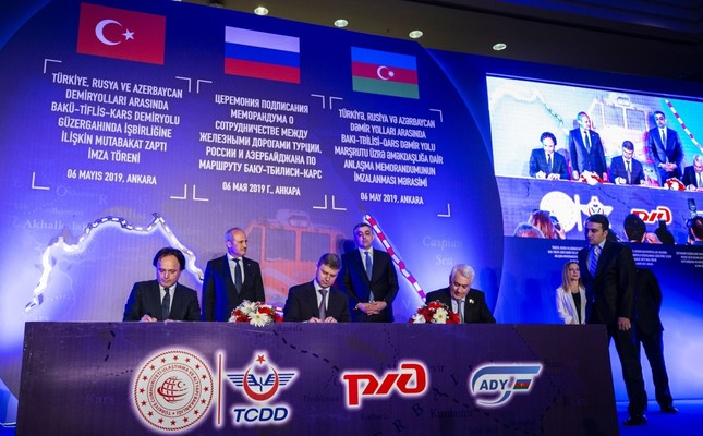 Turkish, Russian and Azerbaijani railway authorities signed a cooperation deal to boost the economic activity on Baku-Tbilisi-KarsBTK railway line, May 6, 2019.