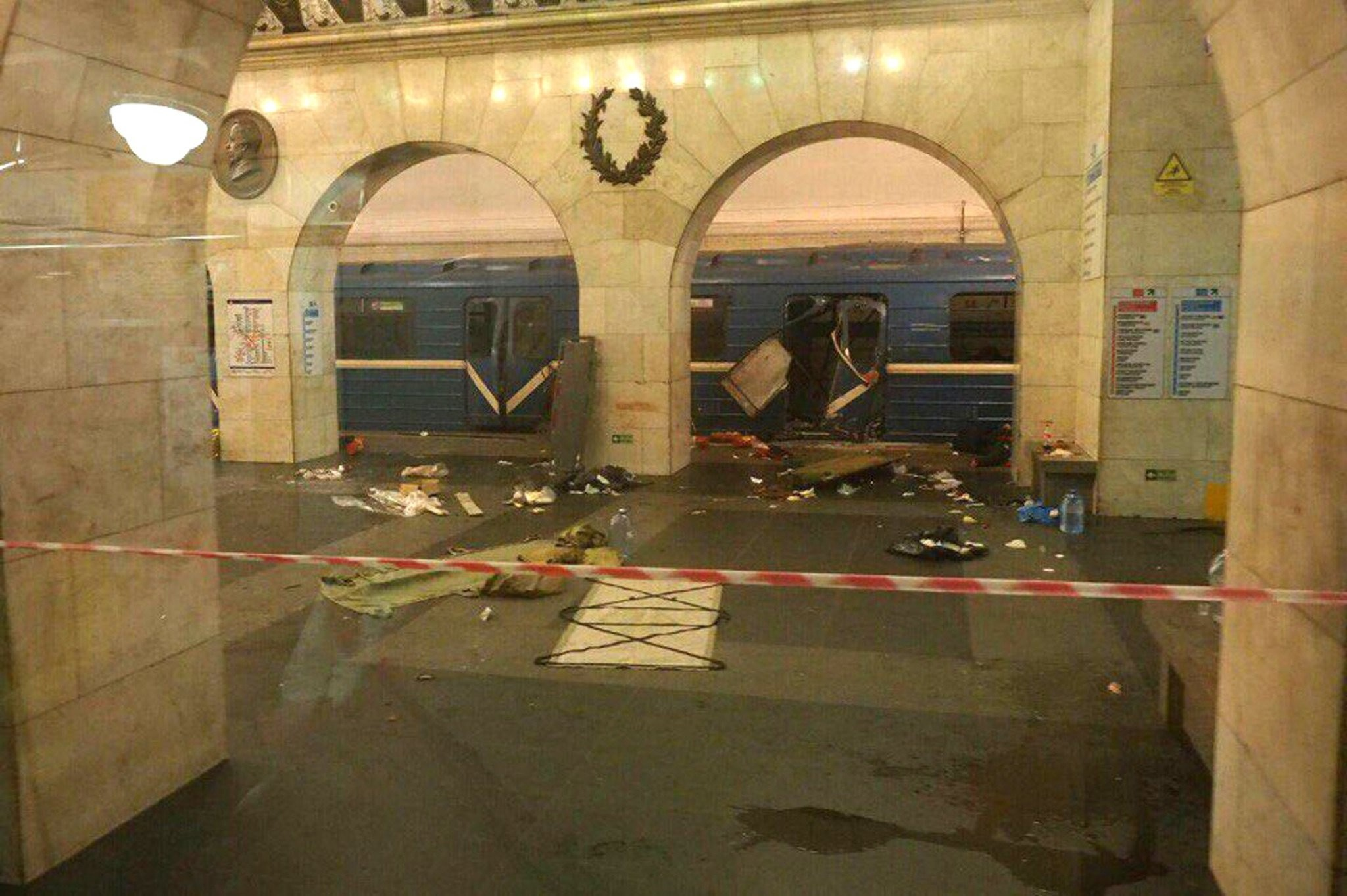 A handout photo made available by megapolisonline.ru via VKontakte (VK) shows a damaged train station shortly after an explosion in a metro of Saint Petersburg, Russia, 03 April 2017. (EPA Photo)