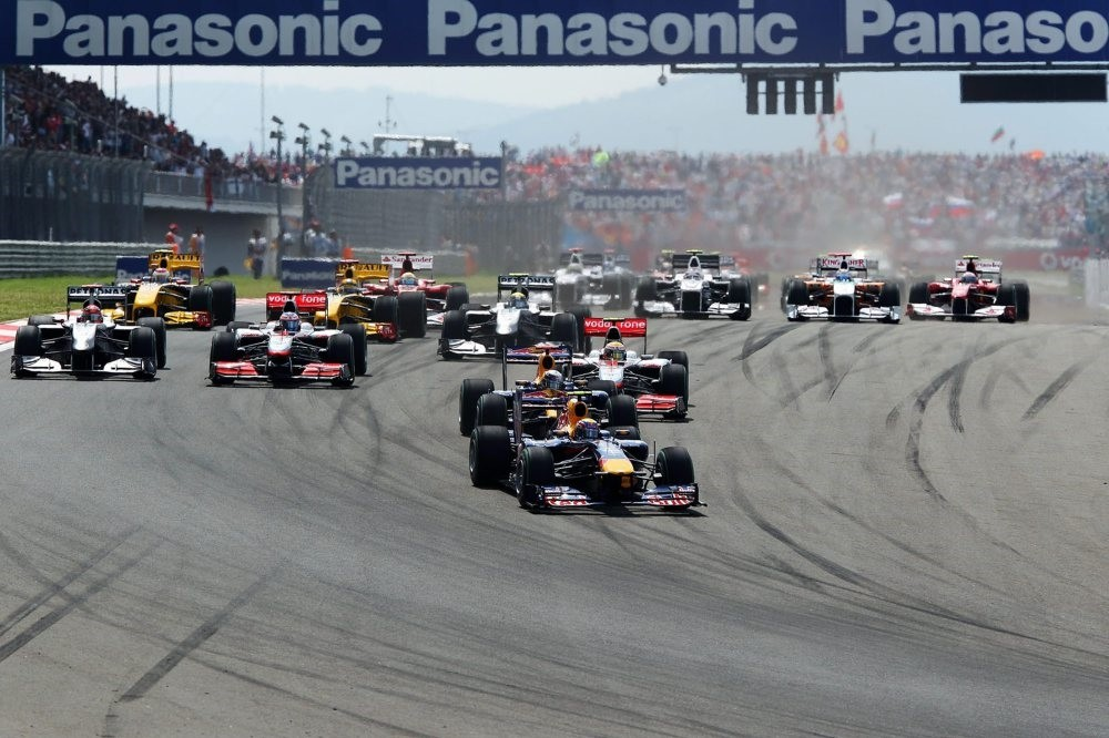 Mark Webber of Australia and Red Bull Racing leads the field into the first corner at the start of the Turkish Formula One Grand Prix at Istanbul Park on May 30, 2010, in Istanbul.