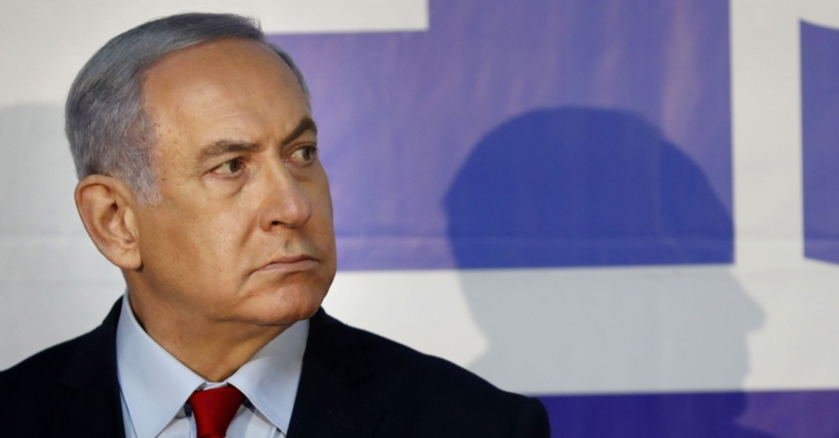 This file photo shows Israeli Prime Minister Benjamin Netanyahu delivering a statement at his residence in Jerusalem on March 20, 2019. (AFP Photo)
